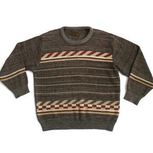 VINTAGE V.S. Buddirana Grandpa Crew Neck Pullover Knit Geometric Sweater